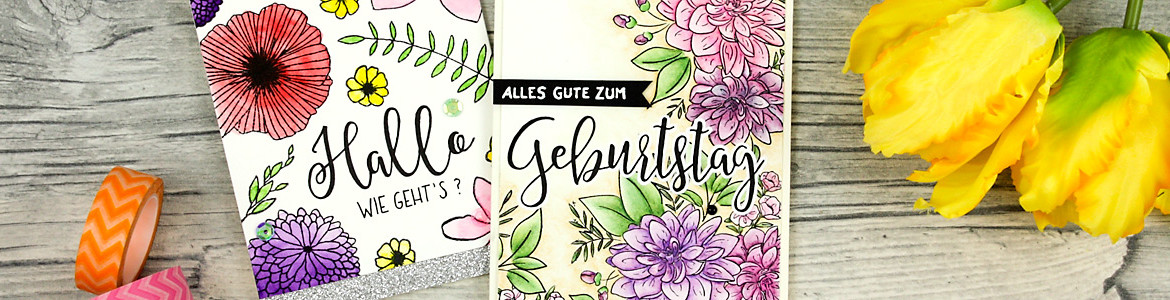 wieesmirgefaellt.de | Schnelle Blümchenkarten - Qickly made flower cards | Wplus9 Dahlia + Concorde & 9th Wildflower | Aquarell - water color