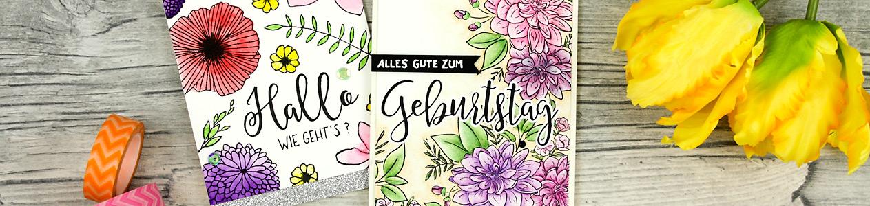 wieesmirgefaellt.de | Schnelle Blümchenkarten - Qickly made flower cards | Wplus9 Dahlia + Concorde & 9th Wildflower | Aquarell - water color