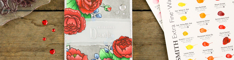 wieesmirgefaellt.de | Blumige Dankeskarten - Flower thank you cards | Mama Elephant  Organic Blooms + Altenew Persian Motifs