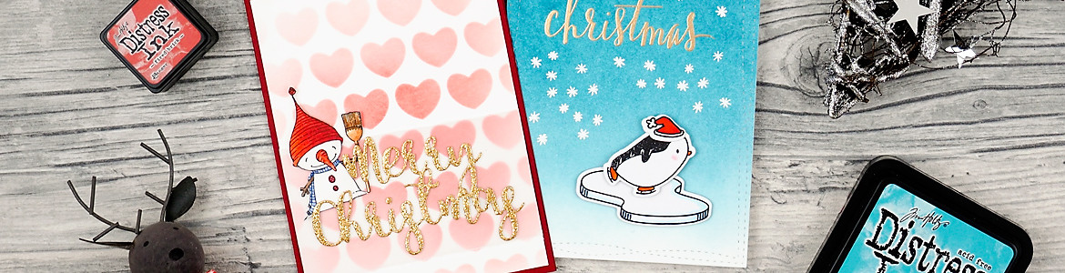 wieesmirgfaellt.de | Schnelle Weihnachtskarten - Qickly made christmas cards | Purple Onion Designs snowman + Mama Elephant Arctic penguins