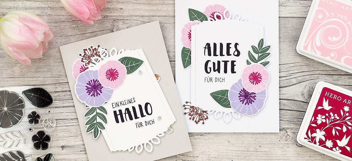 wieesmirgefaellt.de   Gestempelte Blümchen auf gestanztem Hintergrund - Stamped flowers onto cutting out background   WPlus9 - Papertrey Ink - Papierprojekt