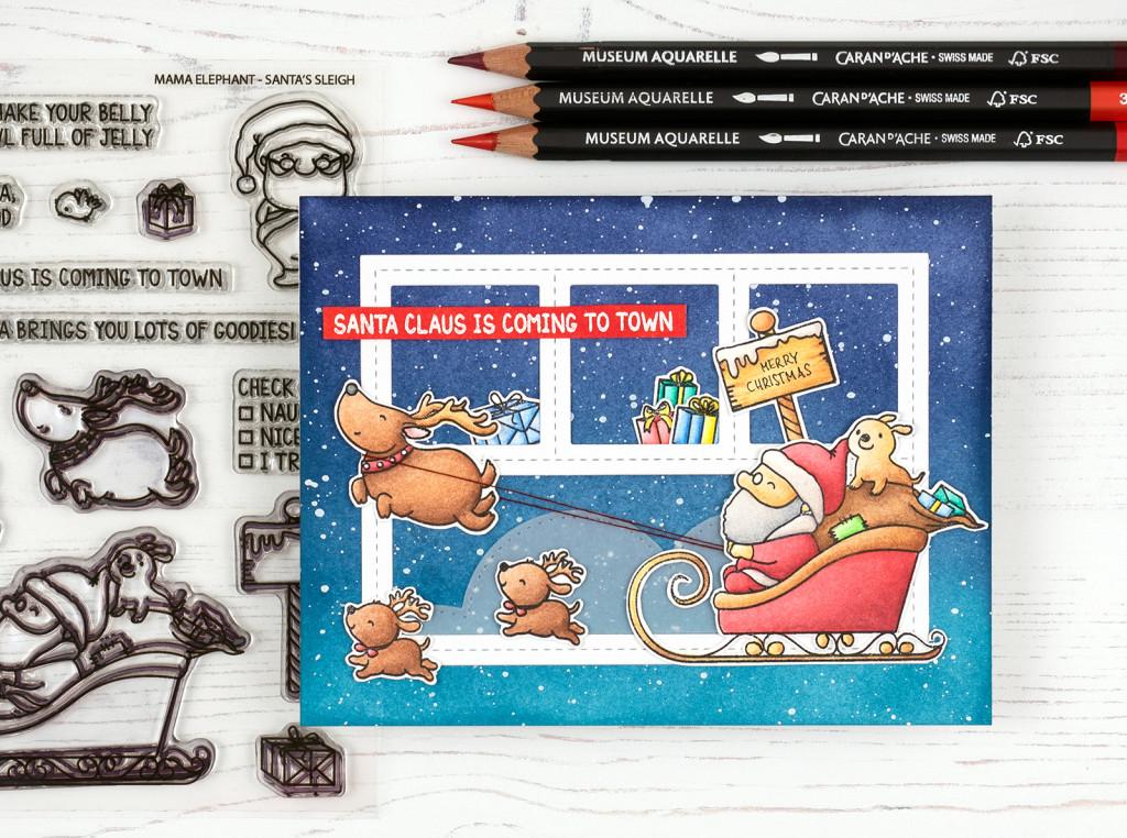 wieesmirgefaellt.de | Die ersten Weihnachtskarten 2018 | Mama Elephant Santa's sleigh